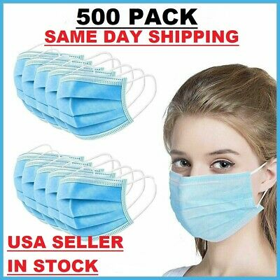 500 PCS Face Mask Surgical Dental Disposable 3-Ply Earloop Mouth Cover NEW