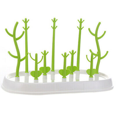 Baby Rack Cleaning Decor Bottle Counter top Plastic Holder Tree Green Drying