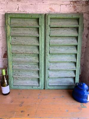 VINTAGE WOODEN SHUTTERS WINDOW  ANTIQUE FRENCH 85 x 83 cm   FREE post