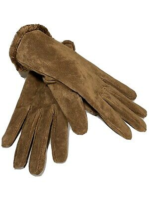 Ladies Fashion GLOVES  Brown Size MEDIUM Genuine Suede Leather Faux Fur Lined