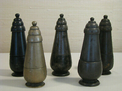 Five Antique Khmer Bronze Lime Containers