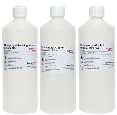 1 Litre Isopropyl Rubbing Alcohol Ipa Pure First Aid Antiseptic 70% 91% & 99.9%
