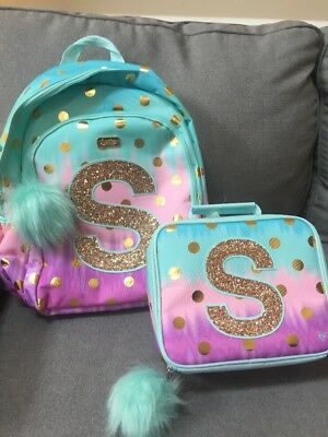NWT JUSTICE 'Ombre' Foil Dot' Initial S Backpack And Lunch Tote Set