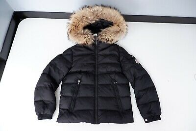 Moncler Kids Fur Trimmed Coat, Jacket, Size Age 10 Years, Black, Immaculate