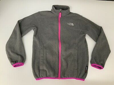 North Face Girls Fleece Jacket, Size Age 10-12 Years, Grey & Pink, VGC