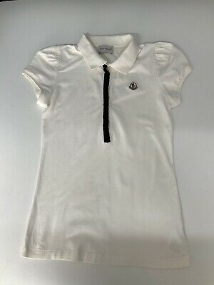 Moncler Girls Polo T Shirt, Top, Size Age 14 Years, White & Blue, VGC