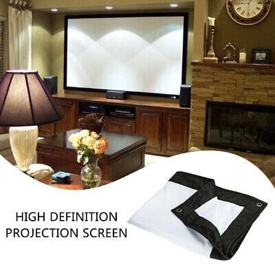 White + Black 100inch Projection Screen Projector Curtain Home Office School