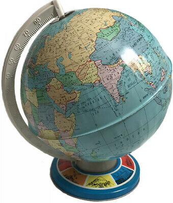Vintage Tin Metal Globe 11' OHIO ART COMPANY Graphic Base World Landmarks