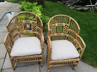 Vintage Brighton Chippendale style Bamboo Rattan Club Armchairs