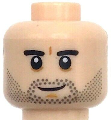 Lego Nougat Minifig Head Dual Sided Reddish Brown Eyebrows Dark Brown Nose Whisk
