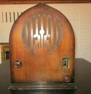 Very Early Echophone 'C' Cathedral Radio With Harp Grill -1930s