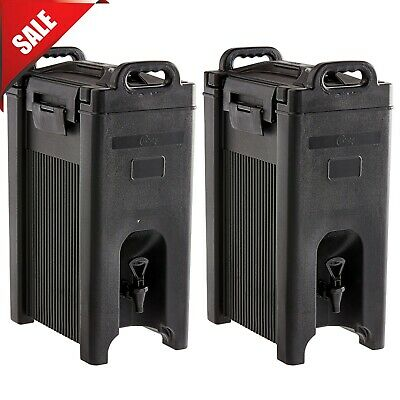 2 PACK 5 Gallon Black Insulated Coffee Tea Hot Cold Beverage Drink Dispenser New