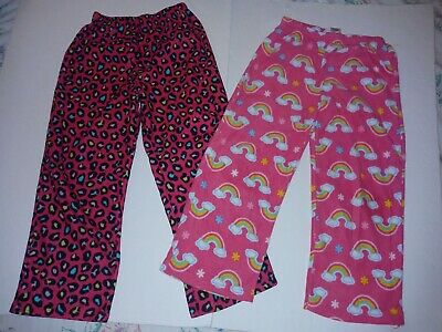 Girls Fleece Pajama Pants 6-6x Pink Rainbows Spotted Elastic Waist 2 pair