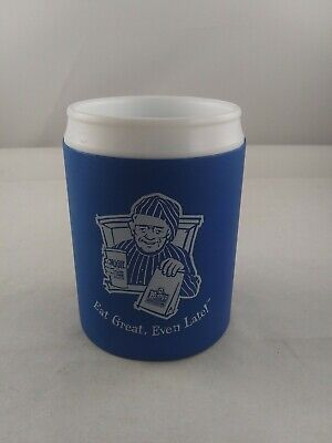 vintage WENDY'S FAST FOOD Can Koozie 90's Eat Late campaign Dave advertising *T