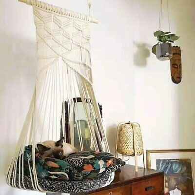 Boho Cat Swing Cage Handmade Macrame Pets Support Nordic Pet House Cats Hanging