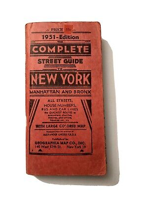 1951 Complete Street Guides New York Manhattan Bronx With Map