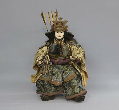 Japanese Antique Armed Samurai Warrior Yoshitsune Large Gofun Doll  Edo 20""