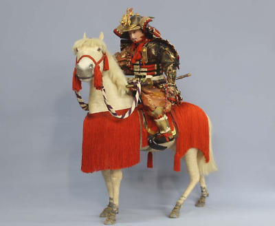 "Japanese Antique Armed Samurai Warrior Yoshiie Extra Large 28"" Horse Riding Doll"