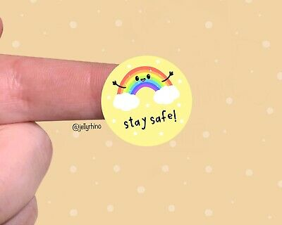 Kawaii  Rainbow Stay Safe Stickers For Packaging