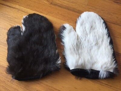 Vintage REAL FUR Mittens - Rabbit fur - 2-Sided Black & White Fur Size SMALL