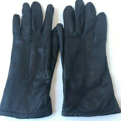 FOWNES Black Leather Gloves Nice Stitching Detail EUC Women's Size 7