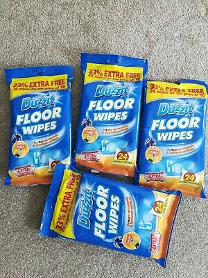 4 x 24 FLOOR CLEANING WIPES EXTRA STRONG HOME LEMON