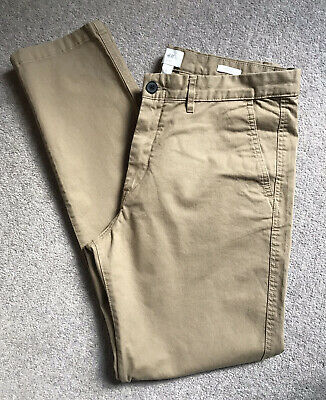 H&M Mens Chinos Beige / Stone Skinny Fit Stretch - Size UK 34 - Brand New!