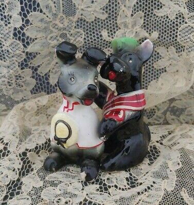 Vintage Porcelain Ceramic Terrier Dogs Dressed in French  Miniature Figurine