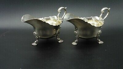 A pair of antique silver sauce gravy boats Mappin & Webb