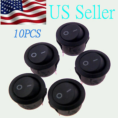 10X Rocker Switches 12V Round Toggle On Off 12 Volt Car Snap In Switch
