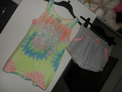 F&F grey and pink multi shorts and top age 8-9 years