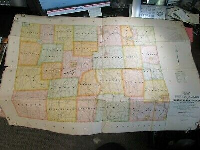 1914 - Map Of Public Roads In Susquehanna County Pa - Color - Very Good