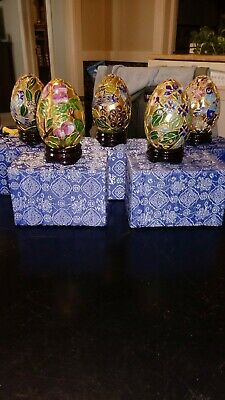 Vintage Chinese Cloisonné Eggs with Fabric Covered Boxes Set of 5