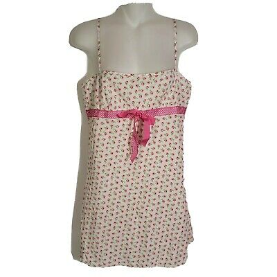 Victorias Secret Womens Lingerie Small Night Gown Slip Pink Floral Bow Polka Dot