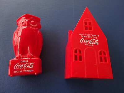 2 1950's Coca Cola Red Plastic Banks, Owl and House
