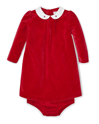 Ralph Lauren Girls' Embroidered Velour Dress & Bloomers Set, Red. Size(18M). NWT