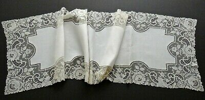 """Antique Victorian Linen & Lace Table Runner 63""""x17"""" Brussels Net Lace Beautiful"""