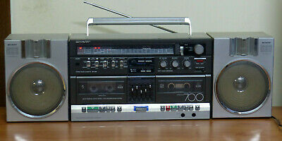 Vintage SHARP Boom Box 4 band Radio, Double Cassette built in equalizer phono in