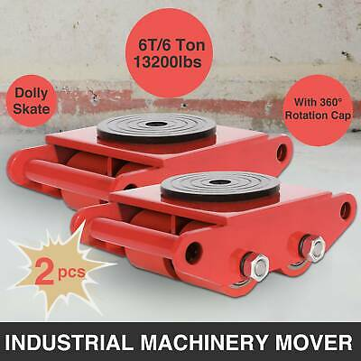 2Pcs Industrial Machinery Mover 6T Cargo Trolley Skate Roller Swivel Dolly Skate