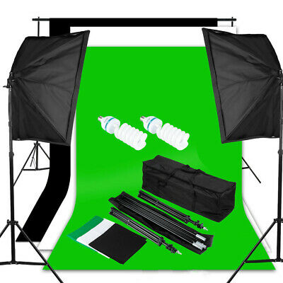 125W Studio Softbox Kit d'éclairage continu 3 Backdrop Background Stand + Bag