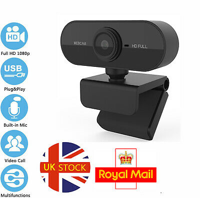 Full HD 1080P Webcam With Microphone USB For PC Desktop Laptop NEW Cam UK Stock