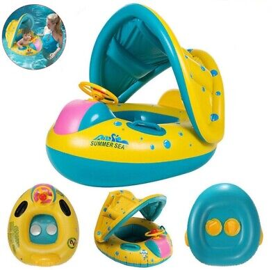 Baby Float Swimming Ring Toddler Childs Inflatable Circle Boat with Seat Canopy