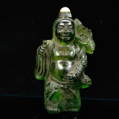 Chinese Antique Hand carved Green Glass Child Model Snuff bottle  LL-039