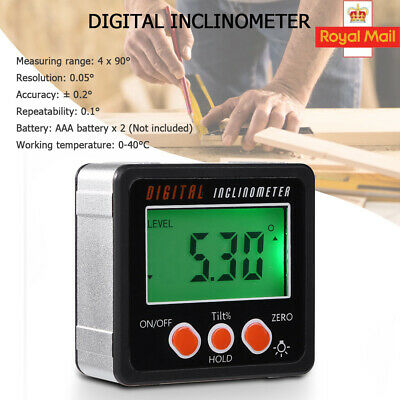 Magnetic Digital Inclinometer Level Box Gauge Angle Meter Finder Protractor 360°