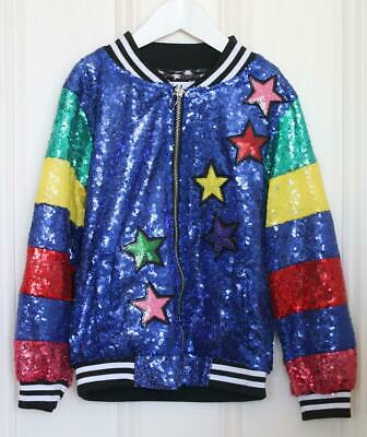 Lola + The Boys Kids Girls Sequin Bomber Jacket 6 Years