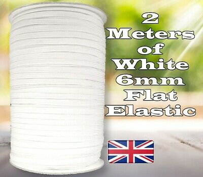 QUALITY White Flat Elastic Cord 6mm For Sewing face Masks projects Soft 2 Meters