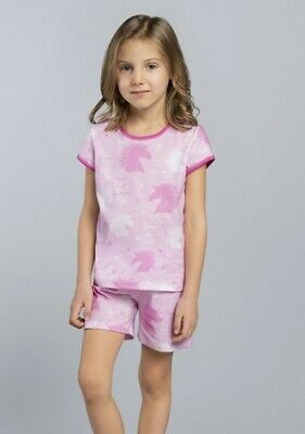 ROXI Pyjama Fillette court en coton Rose ou Bleu Italian Fashion