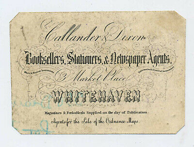 Early 19th Century Advertising Book Plate Callander & Dixon Whitehaven L3