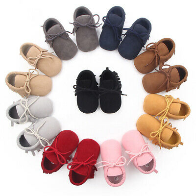 Newborn Baby Boy Girl Toddler Anti-Slip Suede Leather Shoes Tassel Soft Shoes