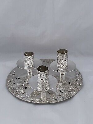 UNIQUE & HEAVY Solid Silver Candle Stand 1996 London For 3 Candlesticks